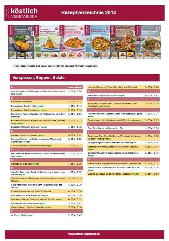 koestlich vegetarisch Rezeptverzeichnis 2014